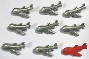 9 Vtg JHB International Realistic Novelty Plastic BUTTONS 747 Passenger Airplane