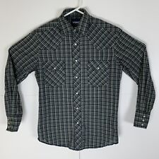 Wrangler Men's Pearl Snap Western Button-Front Long Sleeve Shirt Plaid Sz Small