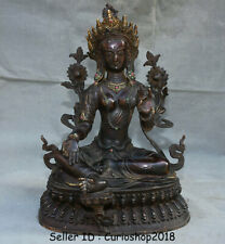 "18"" Antique Tibetan Mahayana Buddhism Bronze Gilt Gem Green Tara Goddess Statue"