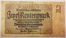 1937 Germany 2 Mark Zwei Rentenmark Banknote, Berlin, Jan. 30th 1937, Pick# 174b