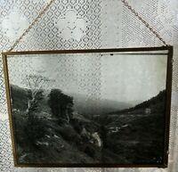 Plaque de verre stéréotype : cascade d'eau, paysage XX siècle