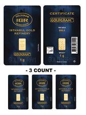 Lot of 3 - 1 Gram IGR Mint 999.9 Gold Bar Sealed with Assay Certificate 24 Karat