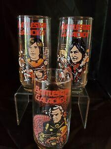 Vintage Battlestar Galactica Glass Tumbler - Set of 3 - Starbuck, Apollo, Comman