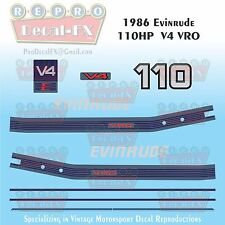 1986 Evinrude 110HP V4 Outboard Reproduction 10Pc Marine Vinyl Decals Two Stroke
