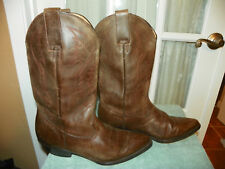 Brito Brown Leather Cowboy Western Boots Men's US 8 Mex 27 Mexico made