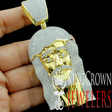 REAL 10K YELLOW GOLD OVER SILVER BIG JESUS FACE CUSTOM PIECE PENDANT CHARM 4''