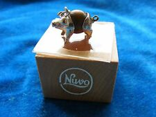 NUVO VINTAGE STERLING SILVER CHARM TOUCH WOOD WUD PIG & ORIGINAL BOX