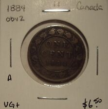 A Canada Victoria 1884 Obv 2 Large Cent - VG+