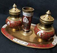 Vintage Brass Salt Pepper Shaker Tray Toothpick Holder Set Hindu 4 piece