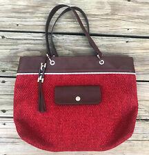 Longchamp Paris Red Woven Wool Brown Leather Silver Trim Shoulder Bag Handbag