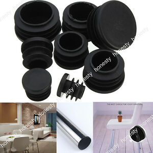 8PCS  Black Plastic Blanking End Caps Cap Insert Plugs Bung For Round Pipe Tube