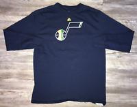 Men's Utah Jazz NBA Navy Blue Long Sleeve T-Shirt Size Large