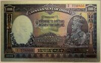 INDIA 1000 RUPEES 1928 KARACHI RARE KING GEORGE V  superb polymer banknote