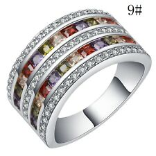 Fashion Wedding Womens White Gold Filled Multicolor Crystal Ring Size 9