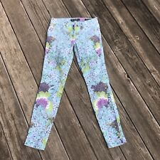 GUESS Brittney Skinny Floral Jeans Sz 25 Ankle Length Blue Purple Hydrangea