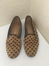 STUBBS & WOOTTON LEATHER TRIM CAMEL & BLACK NEEDLEPOINT LOAFER WOMEN SZ 8