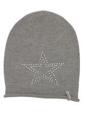 (p35) finemente lavorato a maglia Berretto Freaky testa Beanie Inverno Cappello con Big Star GUARNIZIONE CON STRASS