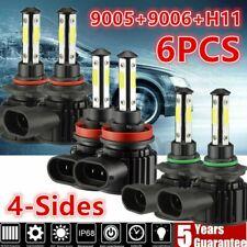 4-Side 9005 9006 H11 6000K LED Headlight Kits Combo High Low Fog Lamp Bulbs USA