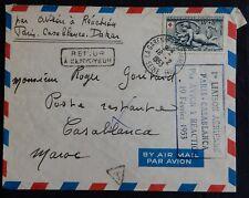 """J33* Enveloppe par avion (+timbre n°938 croix rouge) """"1er vol Paris/Casablanca"""""""