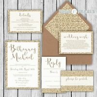Personalised Luxury Wedding Invitations GOLD GLITTER effect packs of 10