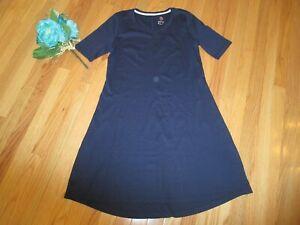 A351507 Isaac Mizrahi Navy  Pima Cotton Elbow Sleeve Dress New Small