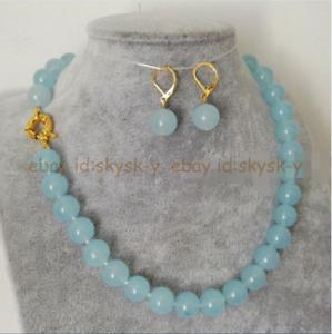 10mm Light Blue Aquamarine Round Gemstone Beads Necklace Earring Set 18''