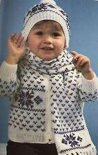FCk24 - Knitting Pattern - Children's Christmas Cardigan, Bobble Hat & Scarf