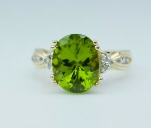 Natural Peridot Solitaire Ring Appraised At 600.00 Sterling Silver Genuine Real August Birthstone Jewelry PR1 5.97 Carat Peridot Ring