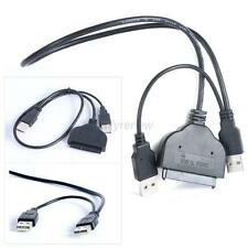 USB 2.0 to SATA 15+7 Pin Data &Power USB Cable Adapter for 2.5 inch HDD SSD
