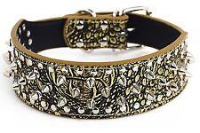Crocodile Gold Spiked Studded Rivet Pu Leather Dog Pet Collar Xs S M L Xl Large