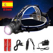 LINTERNA LED RECARGABLE FRONTAL 10000 LUMENS DE CABEZA XLM T6 90º Impermeable