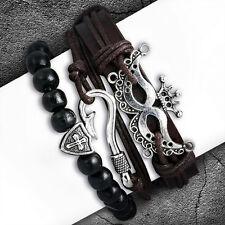 Damen Herren Armband Set Angler Hacken Maske Kreuz Leder Holz Seil Braun Schwarz