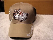 WOLF AND FEATHERS NATIVE PRIDE BASEBALL CAP HAT #3 ( BEIGE )