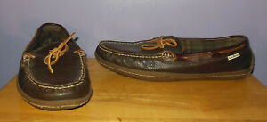 L.L. Bean Men's Handsewn Flannel Lined Leather Slippers! Brown Size 13