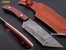 "10"" Custom Handmade Full Tang Damascus steel Knife RoseWood Handle"