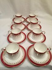 8 x Aynsley Demitasse Coffee Cans & Saucers Red Durham 1646 Pattern