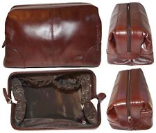 Man's grooming bag leather cosmetic make up case new leather toiletry case