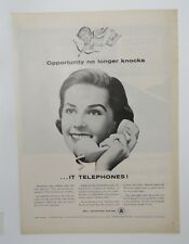 Original  Magazine Ad 1956 BELL TELEPHONE COMPANY Opportunity no longer knocks