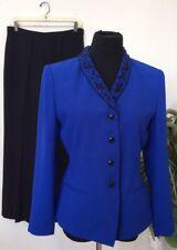Le Suit Beaded Embroidery Blue Black 100% Polyester 2 Piece Pant Suit Sz 8P EUC!