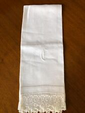 "White Antique Huck Towel - ""C""monogram"