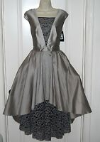 ABS Silver Gray Lame lace A-line High Low evening GOWN formal dress 4 NEW $560