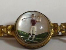 Yellow Gold Filled, Vintage, Glass Button/Rosette, Golfer Bar Pin.