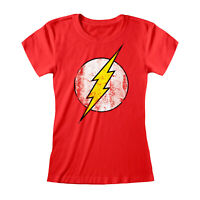 Official DC Comics The Flash T Shirt Distressed  Ladies Fitted S M L XL XXL NEW