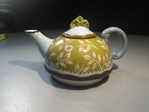 Tracy Porter Teapot Floral Greens Hand Painted Good Condition Please Read Info