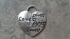 5 X 'LOVE' HEART CHARM - ANTIQUE SILVER METAL TONE - SCRAPBOOKING - JEWELLERY