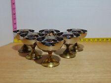 "Six J.S.T. Mid Century Stemmed Chrome And Brass Goblets Sherbet Bowls 3 3/4"""