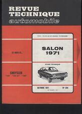 (169A) Revue technique automobile Salon 1971 / Chrysler 160 160GT 180