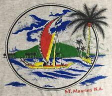 True Vintage 80s St. Maarten Caribbean Islands Beach Vacation Graphic T-Shirt XL