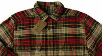 Men's WOOLRICH Ecru Green Red Plaid Flannel Cotton Shirt Jacket XL NWT NEW
