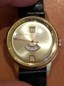 Gents Vintage Buler Rare Gold Dial Jump Hour Watch With Second Finger.
